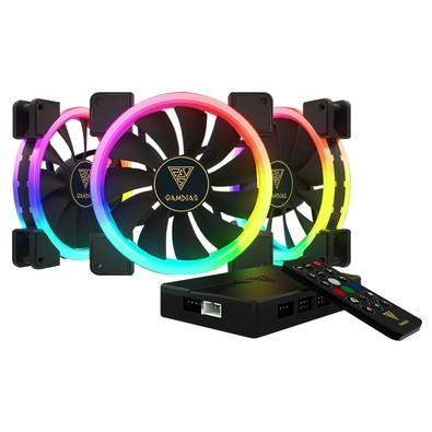 Kit Cooler Fan Gamdias Dual Ring com 3 Unidades, RGB, 14cm - AEOLUS M1-1403R