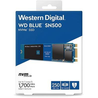 SSD WD Blue SN500, 250GB, M.2 NVMe, Leitura 1700MB/s, Gravação 1300MB/s - WDS250G1B0C