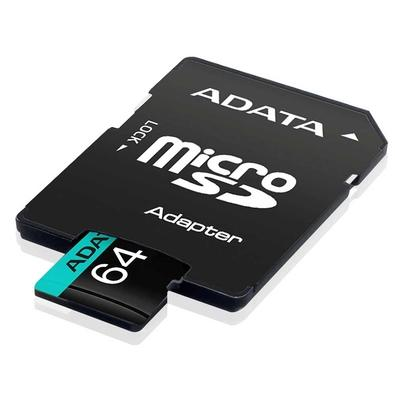 Cartão de Memória Adata MicroSDHC 64 GB Classe 10 V30 com Adaptador - AUSDX64GUI3V30SA2-RA1