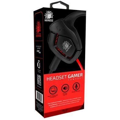 Headset Gamer Nemesis com Microfone, Preto e Vermelho - 015-1017