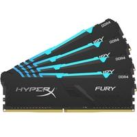 Memória HyperX Fury RGB, 32GB (4x8GB), 2400MHz, DDR4, CL15, Preto - HX424C15FB3AK4/32