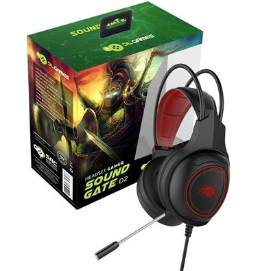 Headset Gamer DL Games SoundGate D2, LED Vermelho, Drivers 40mm - FG252PRE