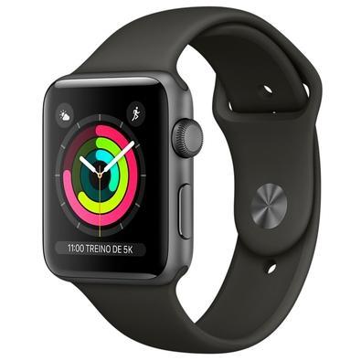 Apple Watch Series 3, GPS, 42mm, Cinza Espacial, Pulseira Preta - MTF32BZ/A