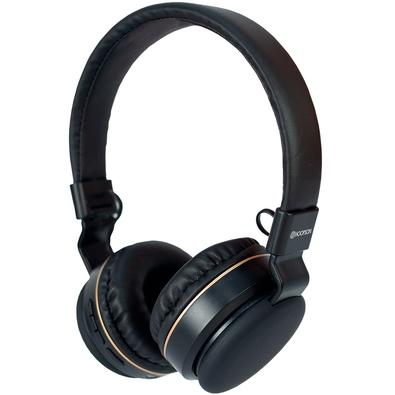Headphone Bluetooth Hoopson, com Microfone, Preto e Dourado - F-048G