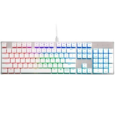 Teclado Mecânico Gamer Cooler Master SK650, RGB, Switch Cherry MX Low Profile, US, Branco - SK-650-SKLR1-US
