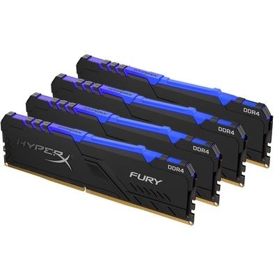 Memória HyperX Fury RGB, 32GB (4x8GB), 3600MHz, DDR4, CL17, Preto - HX436C17FB3AK4/32