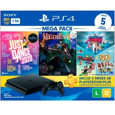 Console Sony PlayStation 4 Hits Bundle Mega Pack 11, 1TB - Just Dance 2020 + MediEvil + Voucher para 03 Jogos - CUH-2214B