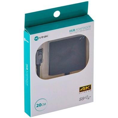 Adaptador HUB Vinik HCHUC-20, USB Tipo C x USB Tipo C, HDMI 4K, USB 3.0, 20cm - 31460