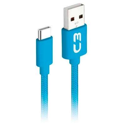 Cabo USB x USB-C, C3 Plus, 1m, Nylon, Azul - CB-C11BL