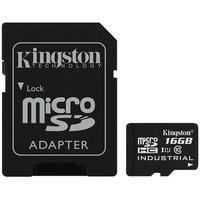 Cartão de Memória Kingston Industrial Temperature MicroSD 16GB Classe U1 com Adaptador, Suporta Temperaturas Extremas - SDCIT/16GB