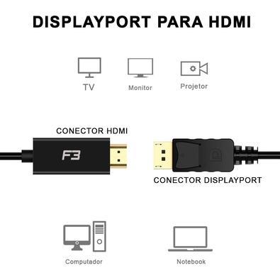 Cabo Adaptador Conversor F3, Displayport x HDMI, 1.8m - JC- CB-DMI18
