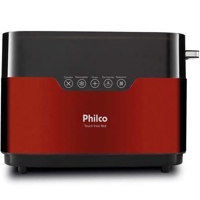 Torradeira Philco Touch Inox Red, 7 Níveis de Tostagem, 220V, Vermelha/Inox - 56202040