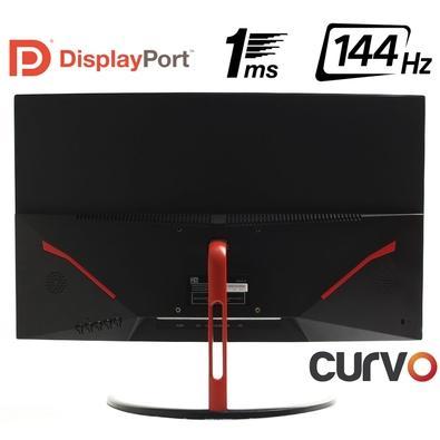 Monitor Gamer HQ LED 24´ Curvo, Full HD, HDMI/DisplayPort, 144Hz, 1ms, Preto/Vermelho - 24GHQ-GAMER