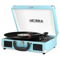 Toca Discos Victrola Mini System Portátil, Bluetooth, Turquesa - VSC-550BT-TRQ
