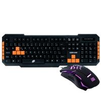 Kit Gamer OEX Game Combo Brave - Teclado, ABNT2, Preto/Laranja + Mouse, LED - TM 303
