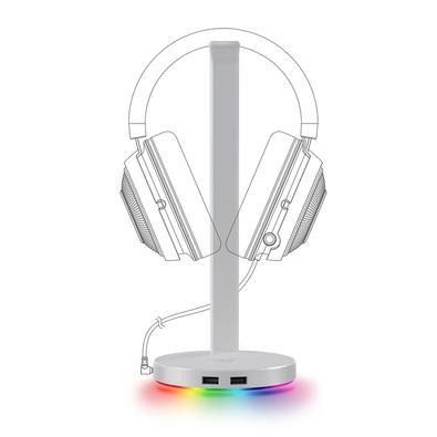 Suporte para Headset Gamer Razer Station V2 Mercury White, Surround Sound 7.1, Chroma, 2 Portas USB 3.1 - RC21-01510300-R3M1