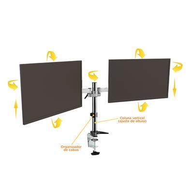 Suporte de Mesa ELG Tipo Torre Multi Articulado para 2x Monitores 15´ Até 27´ - F50D2