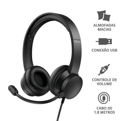 Headset Trust Rydo, Conexão USB, Cabo de 1.8m com Controle de Volume, Preto  - 24133