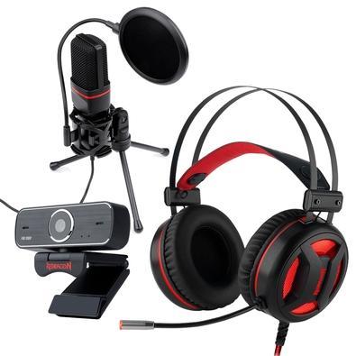Kit Streamer Headset Gamer Redragon Minos USB 7.1 + Microfone Streamer Gamer Redragon GM100 + Webcam Redragon Streaming Hitman, Full HD