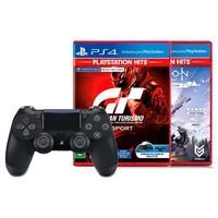 Controle Sony Dualshock 4 PS4, Sem Fio, Preto + Jogo Gran Turismo Sport Hits PS4 + Jogo Horizon Zero Dawn Complete Edition Hits PS4