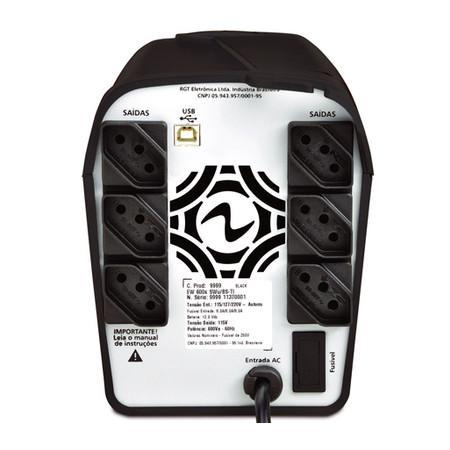 Nobreak Ragtech Easy Pro 1200s USB-Ti Black Entrada 115V, 127V, 220V Saída 115V 4162