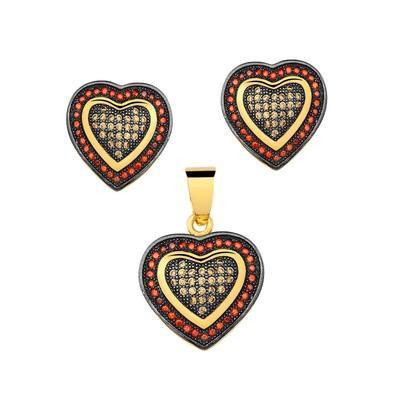 Conjunto de Brincos e Pingente Coração Black - CJCY-E110-C