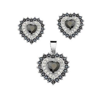 Conjunto de Brincos e Pingente Heart Preto Onix com Micro Zircônias Brancas e Pretas - CJEXCL01-B
