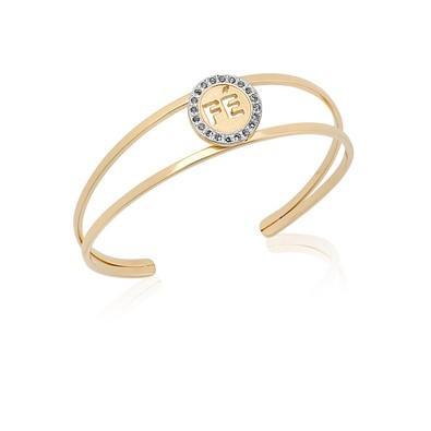 Bracelete Fé com Strass e Ouro Branco - BC0482