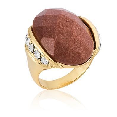 Anel Oval Pedra Natural Gold Stone com Micro Zircônias Tamanho 14 - ANZ0552