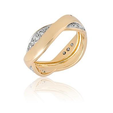 Anel Dourado Curve com Zircônias e Ouro Branco Tamanho 22 - ANZ0533