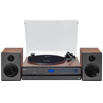 Toca Discos Vitrola Raveo Aria - Bluetooth, CD, USB Reproduz e Grava, SD, Aux. e FM 30W RMS Bivolt Preto/Madeira