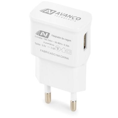 Carregador Avanço Tomada - 2A Compatível com Smartphones, Tablets, GPS, MP3/MP4 e Outros Branco KV-03