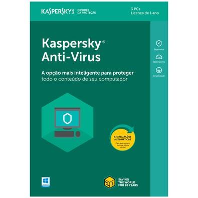 Kaspersky Antivírus 2018 3 PCs - Digital para Download