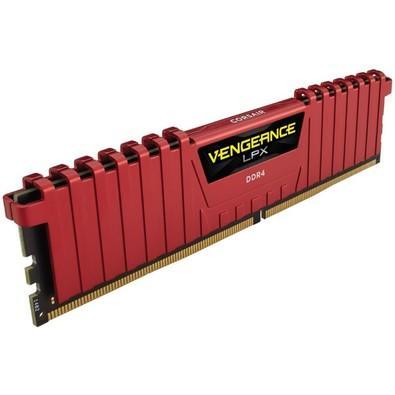 Memória Corsair Vengeance LPX, 4GB, 2400MHz, DDR4, CL16, Vermelho - CMK4GX4M1A2400C16R