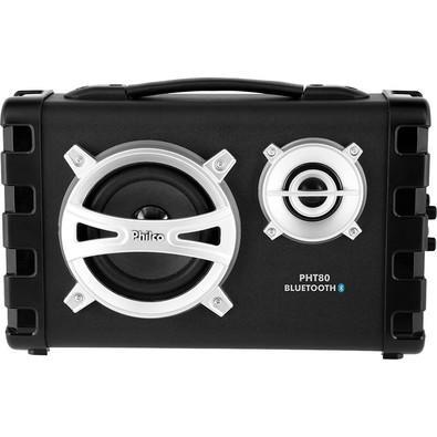 Rádio Portátil Philco - Bluetooth, USB, Entrada p/ Violão e Microfone, Aux. e FM Preto 80W RMS Bivolt/Bateria Recarregavel - PHT80