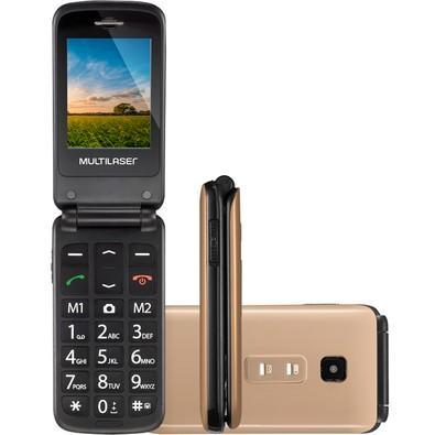 Celular Multilaser Flip Vita, Tela 2.4´, Botão SOS, Câmera, Desbloqueado - Dourado P9043