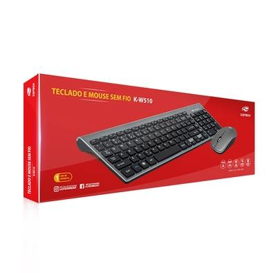 Combo Teclado e Mouse C3 Tech Sem Fio K-W510SWH ABNT2 1600DPI Branco
