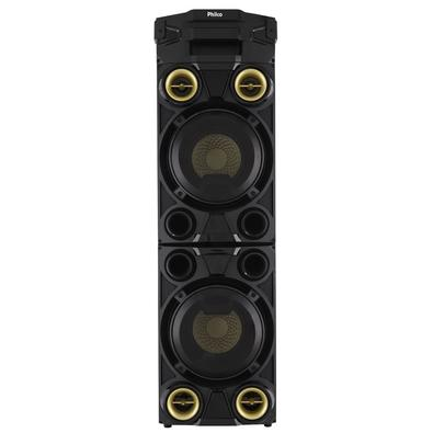 Caixa Acústica Portátil Philco - Bluetooth, MP3, USB, Aux. e FM 1200W RMS Bivolt Preto/Dourado c/ Bateria Interna - PCX11000 056603743
