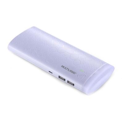 Carregador Portátil Multilaser, 10.000mAh, 2 Portas USB, Branco - CB112