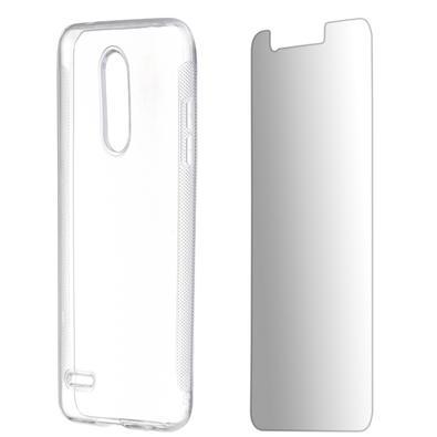 Kit 2 em 1 Celular Mart - Película de Vidro e Capa TPU Transparente Liso para LG K11 Alpha