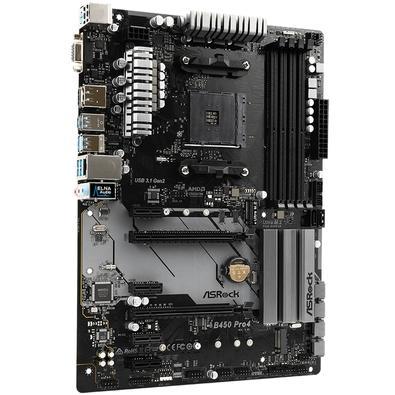 Placa-Mãe ASRock B450 Pro4, AMD AM4, ATX, DDR4