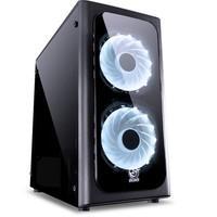 Gabinete Gamer PCYes Venus sem Fonte, Mid Tower, USB 3.0, 2 Fans LED 7 Cores, Preto com Lateral em Acrílico - VENPT7C2FCA