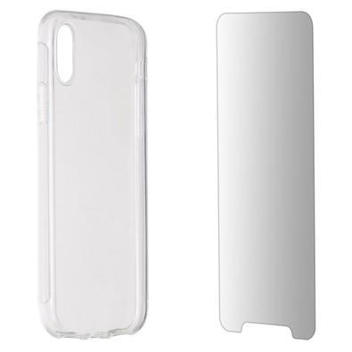 Kit 2 em 1 Celular Mart - Película de Vidro e Case de Silicone Transparente para Iphone XS
