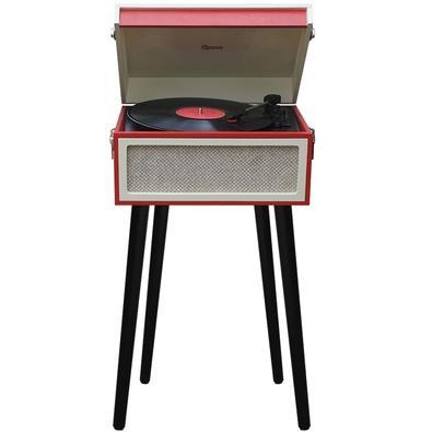 Toca Discos Vitrola Raveo Arena - Bluetooth, USB Reproduz e Grava, Aux. 10W, Vermelho e Creme