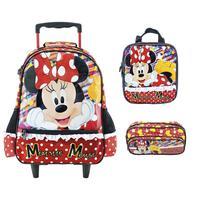Mochila Escolar Minnie Mouse Xeryus de Rodinhas com Lancheira e Estojo Tam G