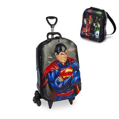 Mochila Escolar Liga da Justiça Superman 3D com Rodinhas e Lancheira MaxToy