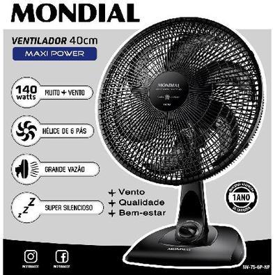 Ventilador Mesa Maxi Power 40Cm 6 Pás 140W Nv-75-6P-Np Preto 127V