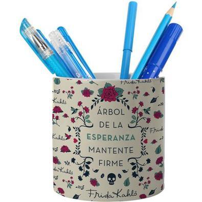 Porta Canetas Porcelana Esperanza branco Frida Kahlo