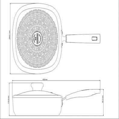 Frigideira Retangular Funda Tramontina Refinatta  Antiaderente Starflon Vermelha 24 cm 2,8 L Tramontina