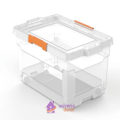 Caixa Organizadora 60L Transparente Basic com Rodas Tramontina